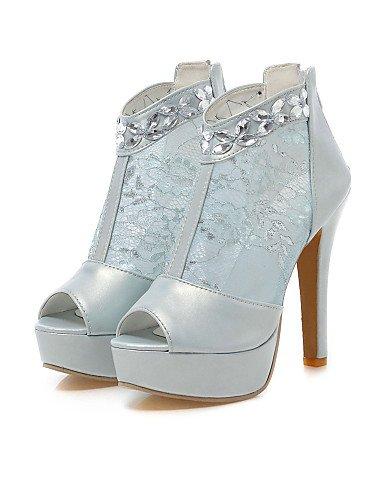 LFNLYX Scarpe Donna-Sandali-Matrimonio / Formale / Serata e festa-Tacchi / Plateau / Aperta-A stiletto-Pizzo / Finta pelle-Nero / Blu / Bianco Blue