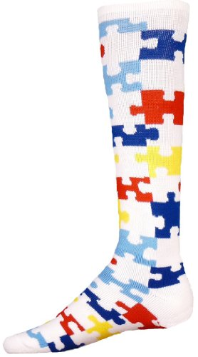 Rojo León Puzzle autismo awarness calcetines - 8374WMUT, blanco / multicolor