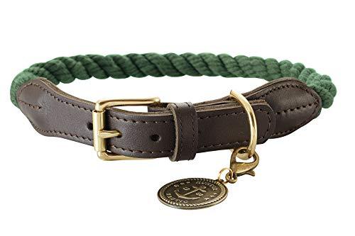 HUNTER 65942 List Halsband für Hunde, Tau, Seil, Leder-Endstücke, maritim, Messing, 50, Oliv -