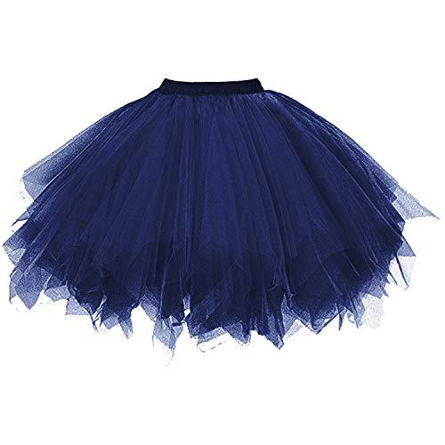 (DresseverBrand Damen Petticoat 50er Rockabilly Jahre Retro Tutu Ballet Tüllrock Cosplay Crinoline Navy Large/X-Large)