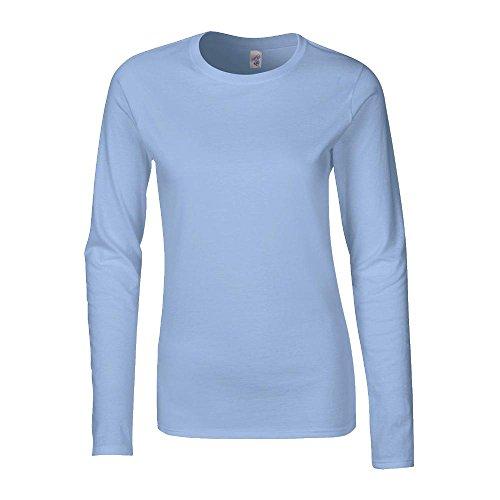 Gildan - Ladies Longsleeve Langarm T-Shirt XXL,Light Blue (Damen-shirt Light Blue)