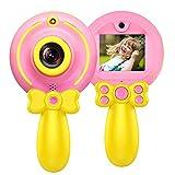 Micoke Kamera für Kinder HD Digitalkinder Selfie kamera Front-Heck-Doppellinse 2,0 Zoll Farbdisplay 8 Megapixel 1080p Videokamera mit Aufklebern Schlüsselband USB Kabel Pink