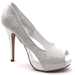 Angkorly - Damen Schuhe Pumpe - Peep-Toe - Stiletto - Abend - glänzende Stiletto high Heel 12.5 cm - Weiß SK1108 T 38