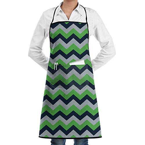 Seattle Seahawks Chevron Bib Apron Chef Apron with Pockets for Male and Female