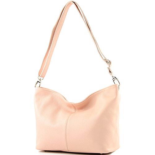 modamoda de - ital. Ledertasche Damentasche Umhängetasche Schultertasche Leder T157 Rosa