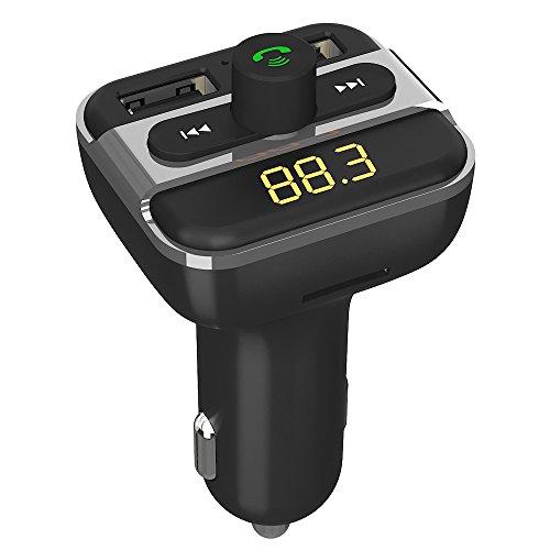 Bluetooth FM Transmitter Auto Radio Adapter Freisprecheinrichtung Car Kit mit 2-Port USB kfz ladegerät 24W 5V / 3.4A mit U Disk und TF Karte Slot, LED ED-Anzeige, Sprachansagen für iOS Android Geräte Ziehen Sie Slot Cars