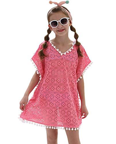 iDrawl Cover Up Pareos Sommer Pink Strandponcho für Mädchen One Size Bademode für 7-13 Jahre Alte