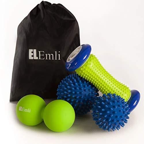 Professionelles Massageset | 4 Teile | Fußmassage bei Plantarfasziitis 2x Igelball | Fußgängerroller mit Pickeln | Duoball - Twinball mit Tasche