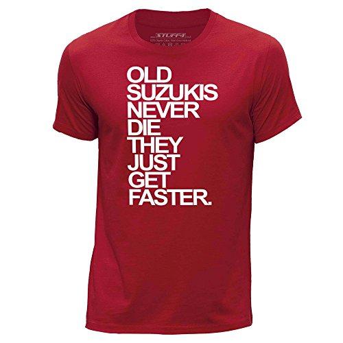 STUFF4 Herren/groß (L)/Rot/Rundhals T-Shirt/Old Suzukis/Suzuki Never Die