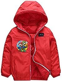 Haililais Chaqueta para Niño y Niña de Invierno Super Mario Chaqueta Acolchada Estampados Abrigo con Capucha