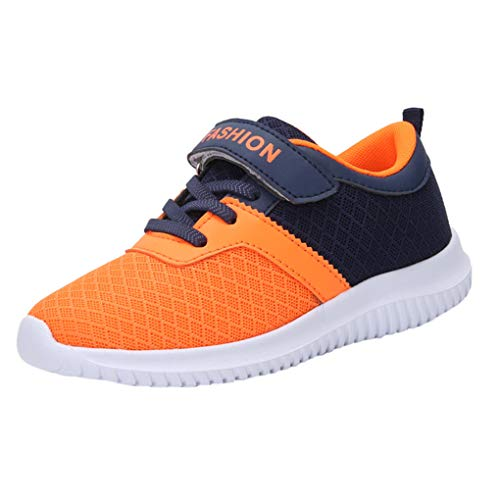 Dorical Kinder Mädchen Sportschuhe Schuhe Mesh Atmungsaktiv Laufschuhe Outdoor Sport Sneaker Turnschuhe Klettverschluss Wanderschuhe Bequem Hallenschuhe für Jungen 28-39(Orange,38 EU)