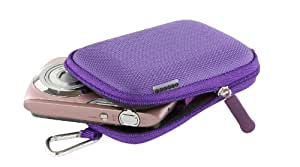 Trendz Zipped Hard Case Cover Bag with Belt Loop and Carabiner for Universal Compact Digital Cameras (Usable Size Approx.: H 110 x W 70 x D 28 mm) - Purple