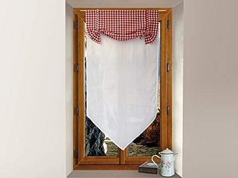 Soleil d'Ocre 042657 Vichy Brise-Bise Voilage Coton Rouge 45 x 90 cm