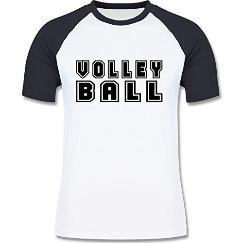 Shirtracer Volleyball - Volleyball Schriftzug - Herren Baseball Shirt Weiß/Navy Blau