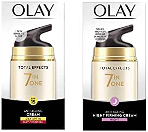 Olay Day Cream Total Effects 7 in 1, Anti-Ageing SPF 15, 50g And Olay Night Cream Total Effects 7 in 1, Anti-Ageing Moisturiser, 50g