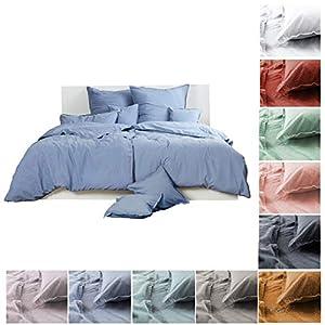Bettwäsche Renforce Stone-Washed 155x220 & 80x80 cm 100% Baumwolle - blau grau OekoTex weich modern Used-Look Leinen-Optik