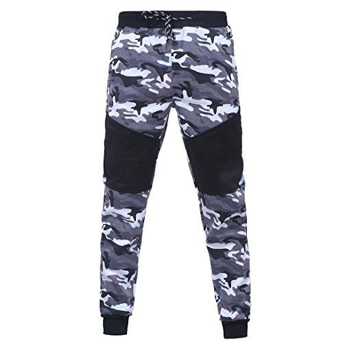 Herren Hose Xinan Jogging Hose Sportwear Männer Men Outdoor Camouflage Schwarz Spleißen Kordelzug Hosen (L, Schwarz) (Sweatpant Kein Pocket)