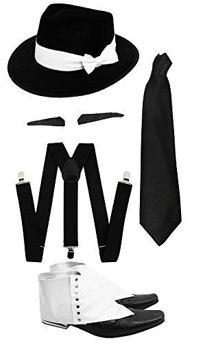 ILOVEFANCYDRESS Gangster Kostüm der 1920er Reihe =Zubehör Set =Schwarze Hosenträger + Schwarz Krawatte + Spiv/Schnurrbart + Gamaschen + Schwarzer Gangster Hut mit weißem Band