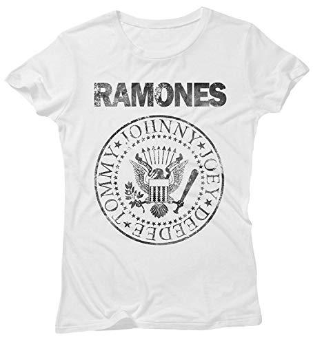 JEMASHOP Camiseta Mujer Blanca Inspirada EN Ramones Grunge Logo...