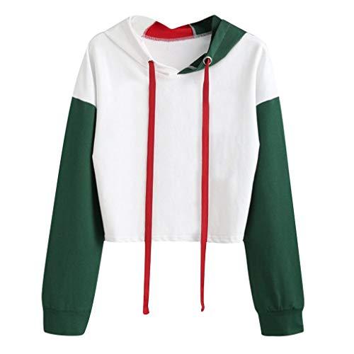 LEXUPE Solides Langarm-Spleiß-Sweatshirt für Damen Kurze Pullover mit Kapuze Oberteile Bluse Hoodie - Boxer Ring Girl Kostüm