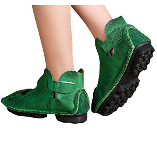 Vogstyle Damen Weinlese Handgemachtes Echtes Leder Ebene Schuhe Grün-Art 1