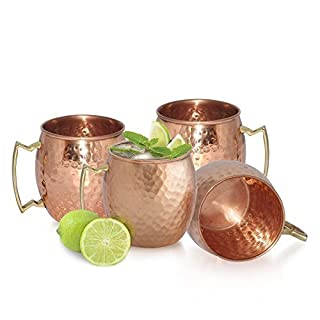 AVS STORE ® Handmade Pure Copper Hammered Moscow Mule Mug (4) by AVS