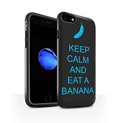 STUFF4 Glanz Harten Stoßfest Hülle / Case für Apple iPhone 8 / Einkaufen Gehen/Braun Muster / Bleib Ruhig Kollektion Essen eine Banane/Blau