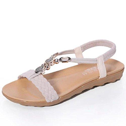 Transer® Damen Flach Sandalen Künstliche PU+Gummi Casual Sandelholz Schuh (Bitte achten Sie auf die Größentabelle. Bitte eine Nummer größer bestellen. Vielen Dank!) (40, Schwarz) Beige