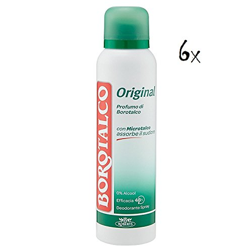 6 x Boro Talco Roberts Desodorante Spray Desodorante Original Fresh 150 ml Sin Alcohol