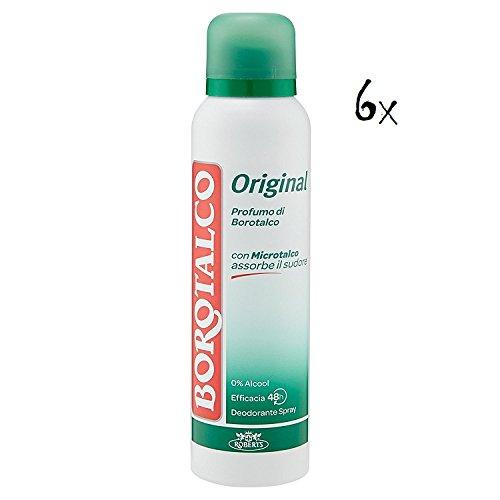 6x BOROTALCO ROBERTS deo spray deodorant Original Fresh 150 ml ohne Alkohol (Deodorant Alkoholfreie)