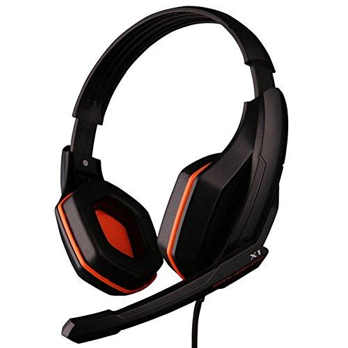GranVela® X1Gaming Auriculares con cable estéreo–Auriculares de diadema con micrófono y Control de volumen sintética cascos para PC, Notebook, Mac
