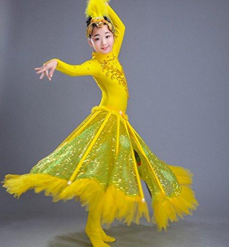 HUOFEINIAO Kinder-Performance-Kleidung Peacock Tanzkostüme Chicks Vogel Tanzkostüme Dai - Tanz Bird Kostüm
