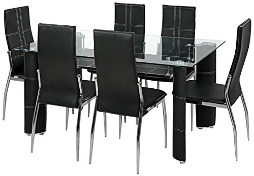Royal Oak Geneva Dining Set with 6 Chairs (Black)