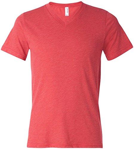 Bella+Canvas: Men`s Triblend V-Neck T-Shirt 3415 Red Triblend
