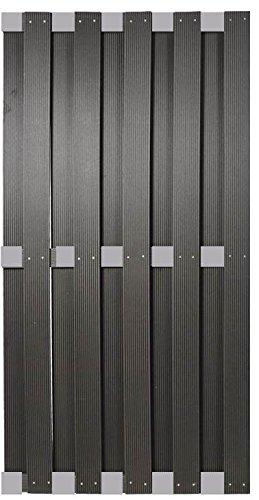 WPC Sichtschutzzaun Malmö 90×180 cm, anthrazit mit Aluminium Streben -EXTRA STABIL-