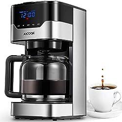 Aicook Machine à café, Cafetière à Filtre avec écran Tactile, Cafetière programmable 12 Tasses, Temps affiché à l'écran, Réservoir d'eau(51 onces) et Pot en Verre(1,5 Litre), 900W, Noir