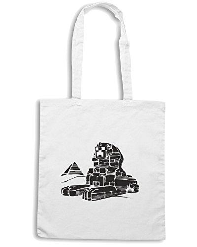 T-Shirtshock - Borsa Shopping FUN1091 Creeper Sphinx T SHIRT detail Bianco