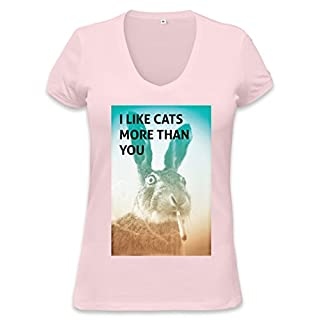 I Like Cats More Than You Rabbit Womens V-neck T-shirt XX-Large