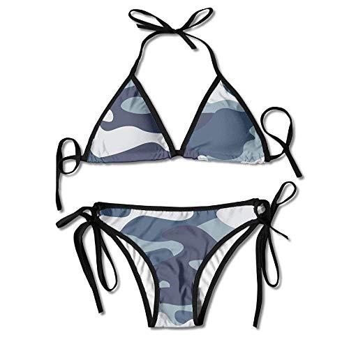Bikini Swimwear Women Navy Blue Gray Forest Camouflage Printing Sexy Two-Piece Bikini Set Beach Bathing Suit