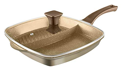 Tower Tower Cerastone 2-in-1 Cast Grill Pan with Easy Clean Non-Stick Ceramic Coating, Aluminium, Gold, 28 cm
