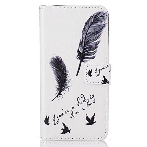 6 Plus Hülle, 6S Plus Hülle, iPhone 6 Plus Hülle, iPhone 6S Plus Hülle, iPhone 6 Plus / iPhone 6S Plus Hülle Muster, iPhone 6 Plus / 6S Plus Leder Wallet Tasche Brieftasche Schutzhülle, BONROY 3D Bunt Schwarze Feder