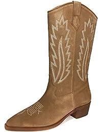 8a494636ba0f Massimo Dutti Women's Sand-Coloured Split Suede Cowboy Boots 1195/021