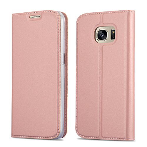 Cadorabo Hülle für Samsung Galaxy S7 - Hülle in ROSÉ Gold – Handyhülle mit Standfunktion und Kartenfach im Metallic Look - Case Cover Schutzhülle Etui Tasche Book Klapp Style