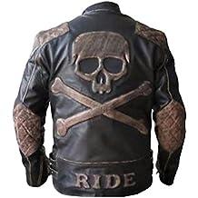 Feather Skin Veste Homme Skull Embossed Vintage Affligé Marron Motard Moto  Veste de Cuir 49b1a46afe3