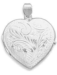 Sterling Silver Large Etched Heart Locket 36x30mm Locket Holds 2 Pictures