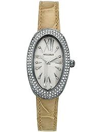 Milleret - 1000D11D565-AA4 - Anaconda - Montre Femme Acier - Quartz Analogique - Lunette 144 Diamants Certifiés 0.72 carat - Bracelet Crocodile Blanc Véritable