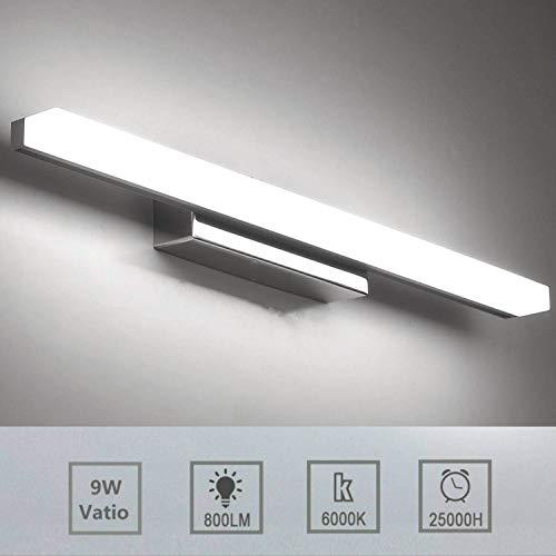 Luxvista 57CM 9W Lámpara de Aplique Espejo Baño LED Interior, Luz de Pared Maquillaje de Vidrio Esmerilado...