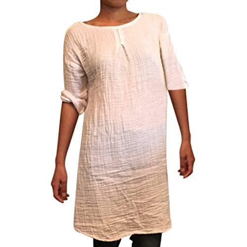 Hals-kaftan (Damen Casual Tops Mode Freizeit Kleid Langarm Runde Hals Kaftan Baggy Baumwolle Leinen Kleid lose Party Tunika tägliche Bluse Kleid Weiß S)
