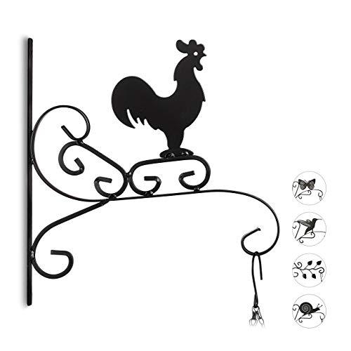 Relaxdays Blumenhaken mit Hahn, Blumenampelhalter für Wand, Topf, Garten-Deko Gockel, HxBxT: 30 x 28 x 2 cm, schwarz (Blumentopf Huhn)