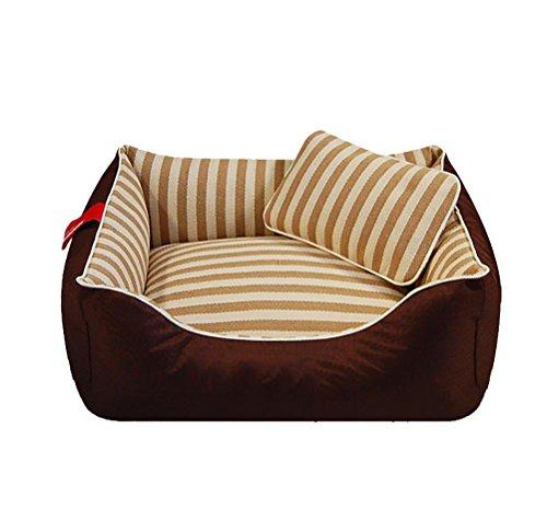 DAN Hundebett Haustierbett für Katzen und Hunde Rechteck Ultra Weicher Plüsch luxuriöse Maschine waschbar, m- for 20 kg Following, Coffee